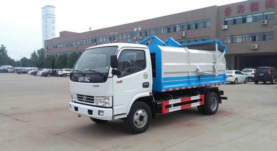 东风多利卡侧装挂桶压缩式垃圾车(容积5立方)